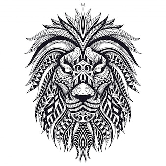 Illustration de zentangle lion ligne art