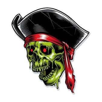 Illustration de zombie pirate crâne
