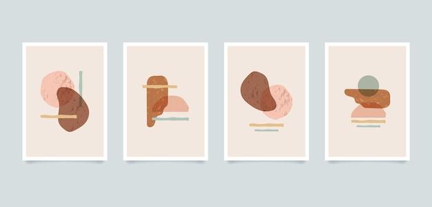 Illustrations abstraites minimalistes esthétiques modernes. collection d'affiches d'art de décoration murale de composition contemporaine.