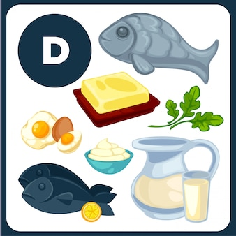 Illustrations alimentaires à la vitamine d.