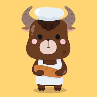 Illustrations d'animaux de dessin animé mignon boulanger yak
