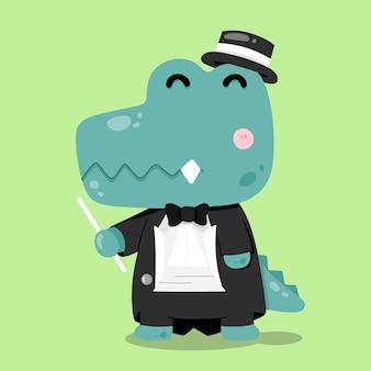Illustrations d'animaux de dessin animé mignon chef d'orchestre de crocodile