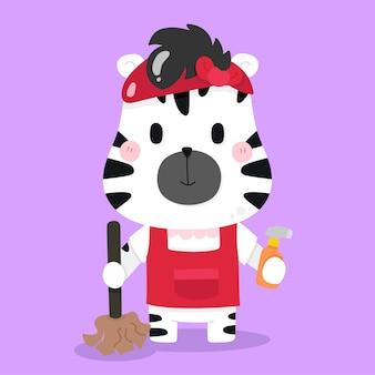 Illustrations d'animaux de dessin animé mignon femme de ménage zèbre