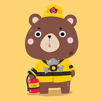 Illustrations D'animaux De Dessin Animé Mignon Ours Pompier Vecteur Premium