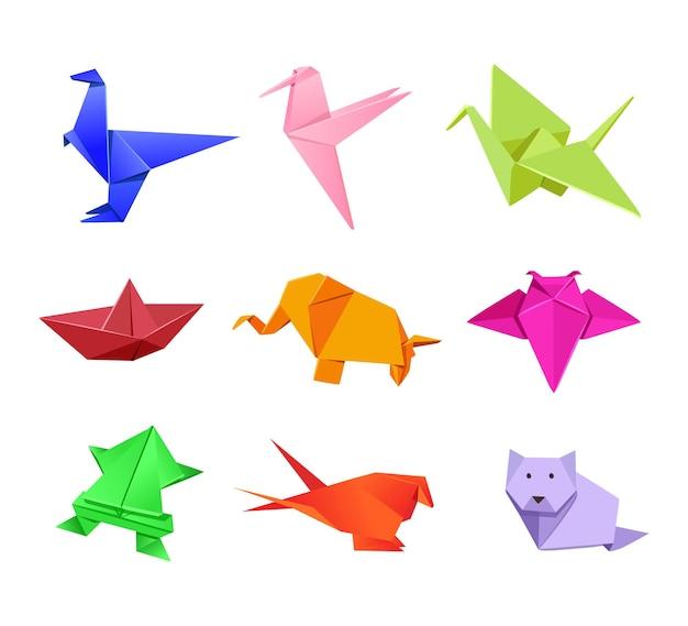Illustrations d'animaux japonais en origami dans un style cartoon