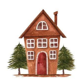 Illustrations à l'aquarelle avec maison brune stylisée et sapins verts. maison de campagne.
