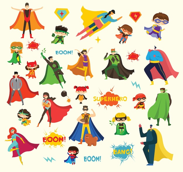 Illustrations au design plat de super-héros féminins et masculins en costume de bande dessinée drôle
