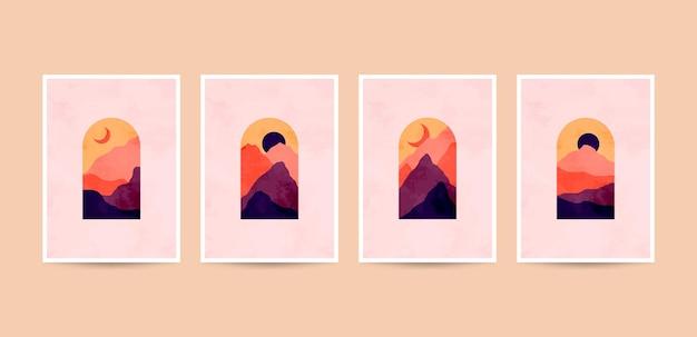 Illustrations de cactus abstraits minimalistes esthétiques modernes.