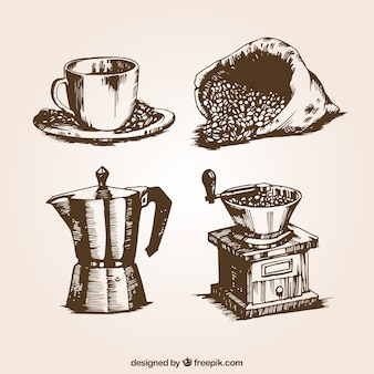 Illustrations de café rétro