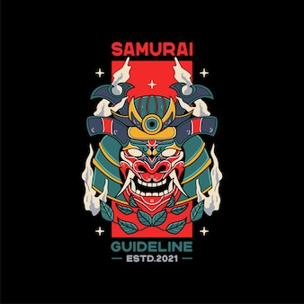 Illustrations de casque de samouraï avec crâne
