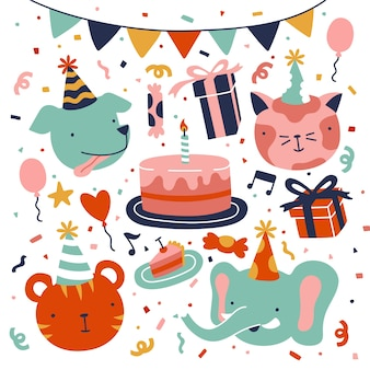 Illustrations de célébration de joyeux anniversaire