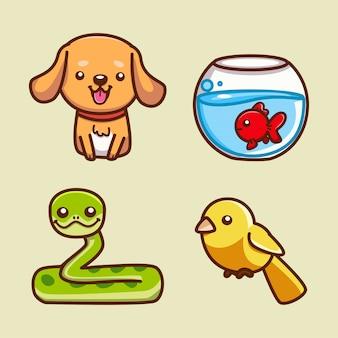 Illustrations de collations et d'oiseaux pour chiens mignons
