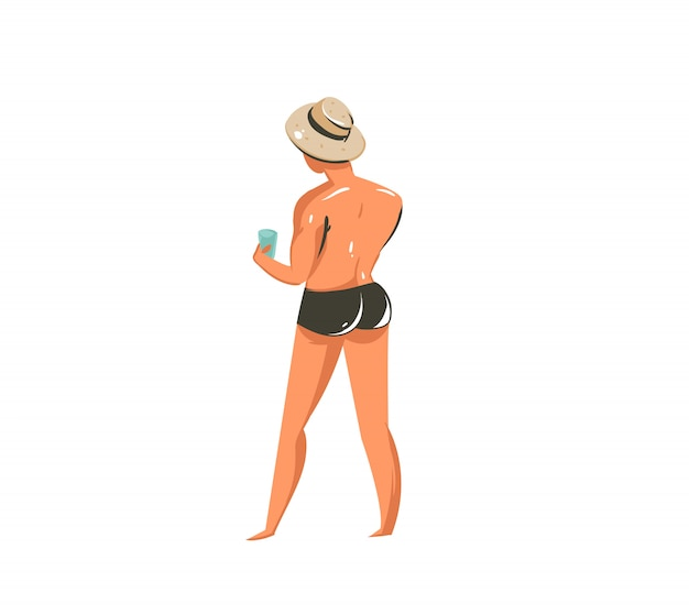 Illustrations de collection d'heure d'été dessin animé dessinés à la main avec personnage de jeune homme sur la plage sur fond blanc