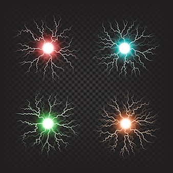 Illustrations colorées de boules de feu électriques isolés