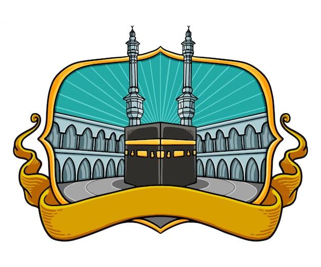 Illustrations colorées de la kaaba avec cadres et rubans