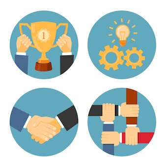 Illustrations commerciales de concepts de partenariat, mutuelle et de coopération de vecteur