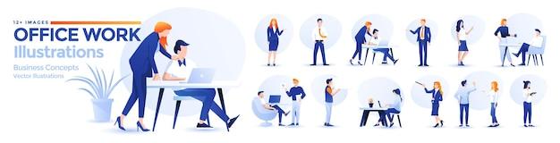 Illustrations commerciales définies dans un style design plat