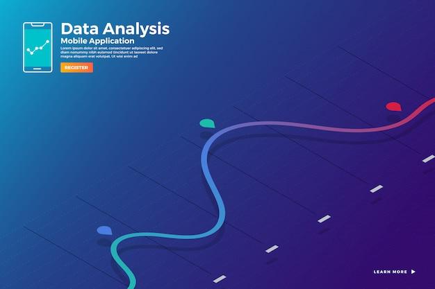 Illustrations concept analyse de données isométriques et rapport graphique d'esprit statique et graphique graphique. modèle de bannière de modèle de site web. illustrer.