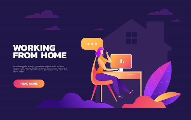 Illustrations concept coronavirus covid-19. l'entreprise permet aux employés de travailler à domicile pour éviter les virus. illustrer.