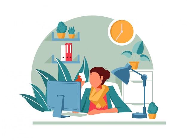 Illustrations concept coronavirus covid-19. l'entreprise permet aux employés de travailler à domicile pour éviter les virus.
