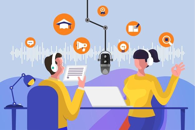 Illustrations concept design chaîne de podcast. le travail d'équipe rend le podcasting.la table de microphone de studio diffuse les gens. icône de radio podcast.