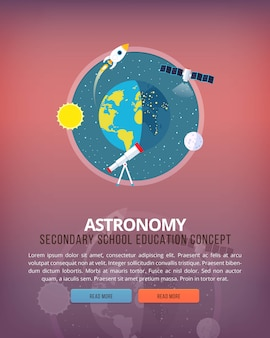 Illustrations de concept d'éducation et de science. science de la terre et de la structure de la planète. astronomie connaissance des phénomènes atmosphériques. bannière.