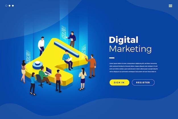 Illustrations concept d'entreprise isométrique analyse du travail d'équipe marketing numérique via mégaphone icône