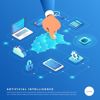 Illustrations concept intelligence artificielle ai