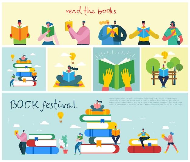 Illustrations de concept de la journée mondiale du livre, lecture des livres et festival du livre dans le style plat.