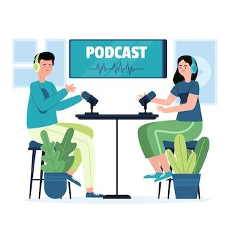 Illustrations de concept de podcast