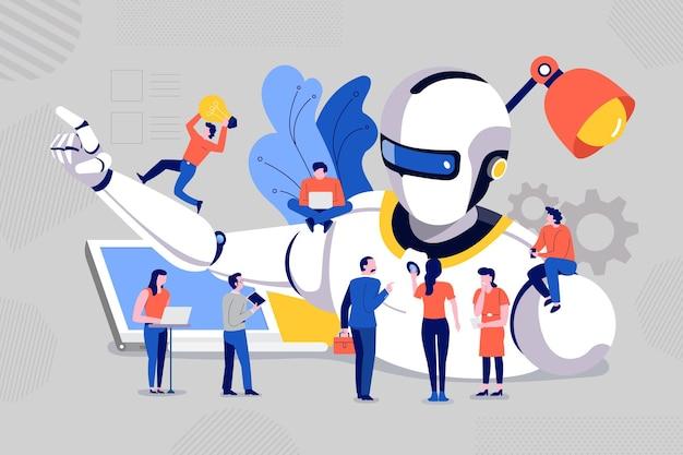 Illustrations concept team building et développement de robot intelligent