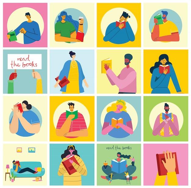 Illustrations de concept de vecteur de la journée mondiale du livre, lecture des livres et festival du livre dans le style plat. les gens s'assoient, se tiennent debout et marchent et lisent un livre dans le style plat