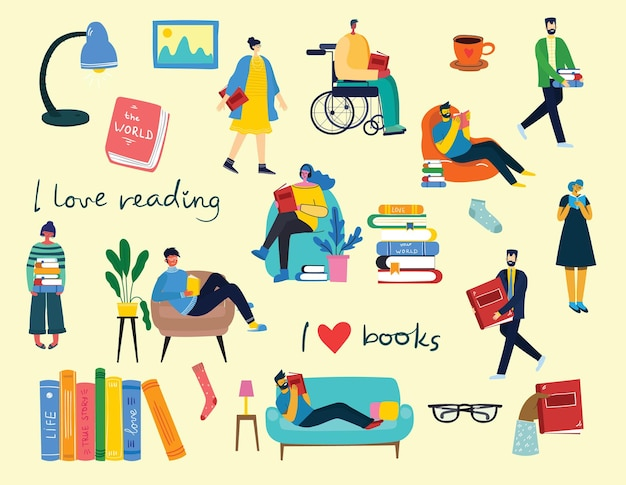 Illustrations de concept de vecteur de la journée mondiale du livre