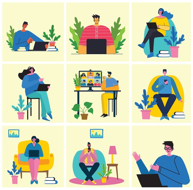 Illustrations de concept de webinaire en ligne