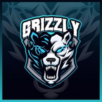 Illustrations de conception de logo d'esport de mascotte de grizzly rugissent, style de dessin animé d'ours polaire