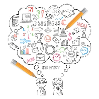 Illustrations de concepts commerciaux dans un style dessiné à la main. jeu de doodles vectorielles