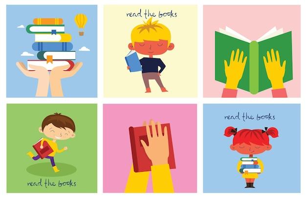 Illustrations conceptuelles de la journée mondiale du livre