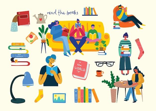 Illustrations conceptuelles de la journée mondiale du livre,