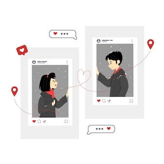 Illustrations de couple dans les médias sociaux