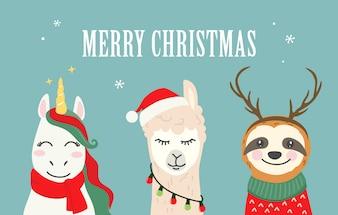 Illustrations de personnage de dessin animé de Noël de licorne mignonne, alpaga lama, paresse