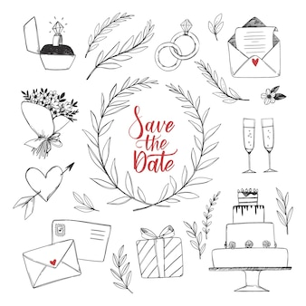 Illustrations avec des décorations de mariage. croquis de fleurs, gâteau de mariage, bague de fiançailles