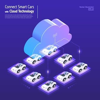Illustrations design concept réseau numérique avec la technologie cloud