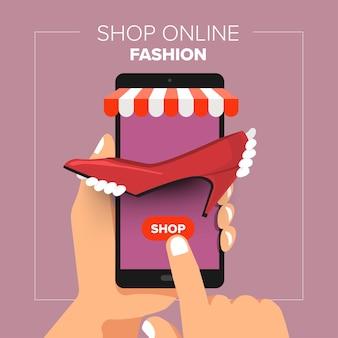 Illustrations design plat boutique mobile boutique en ligne. main tenir les achats de mode de vente mobile.
