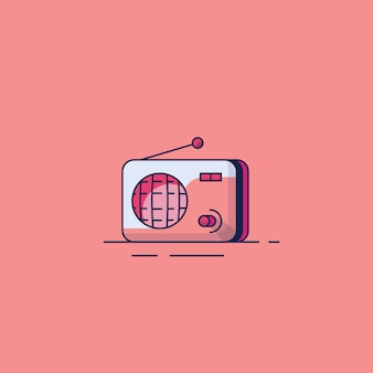 Illustrations de design plat radio classique