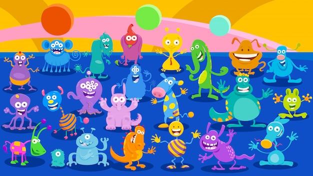 Illustrations de dessin animé de fond fantaisie de monstres