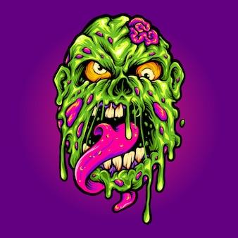 Illustrations de dessin animé d'horreur de tête de zombie