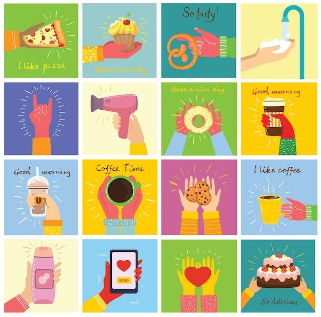 Les illustrations dessinées à la main de mains contiennent différentes choses, telles que smartphone, pizza, crème glacée, beignet et autres dans le style plat