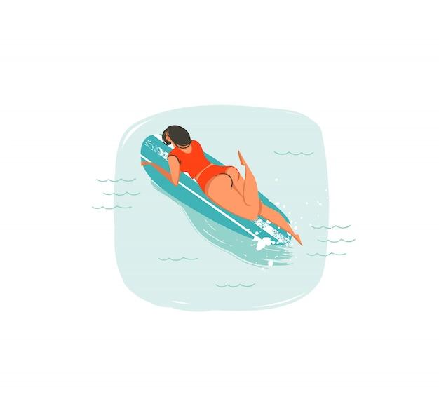 Illustrations dessinées à la main avec natation surfeur fille sur longboard dans les vagues de l'océan bleu isolé sur fond blanc