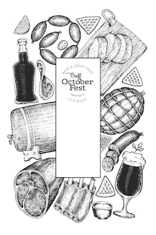 Illustrations dessinées à la main octoberfest. modèle de conception de festival de bière de voeux dans un style rétro. fond d'automne.