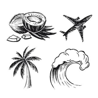 Illustrations dessinées à la main de vague d'avion de cocotier